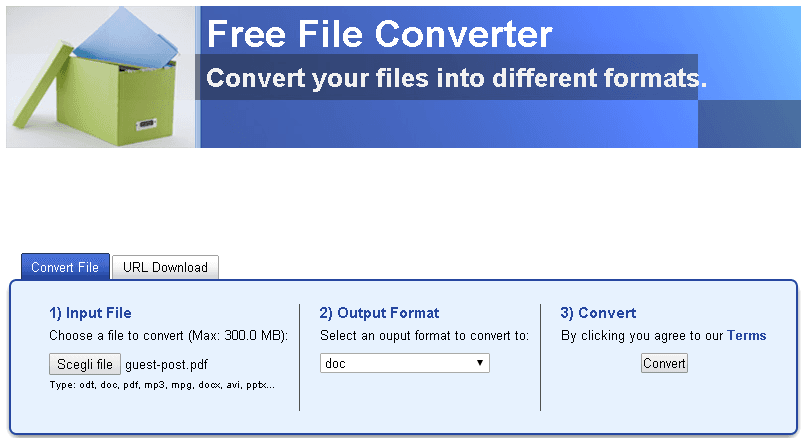 FREEFILECONVERT PDF in word