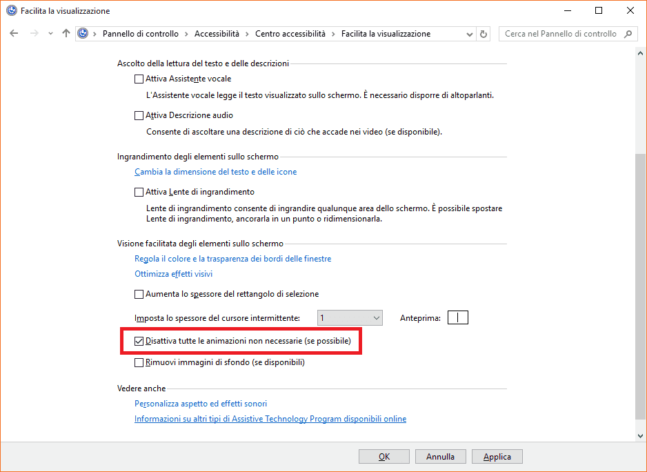 disabilitare animazioni windows 10-min